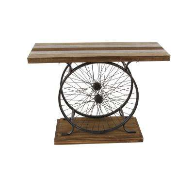 Rustic Traditional Wood and Iron Wheel Console Table