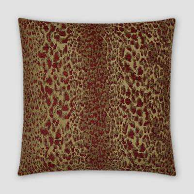 Purrfect Red Feather Down 18 in. x 18 in. Standard Decorative Throw Pillow