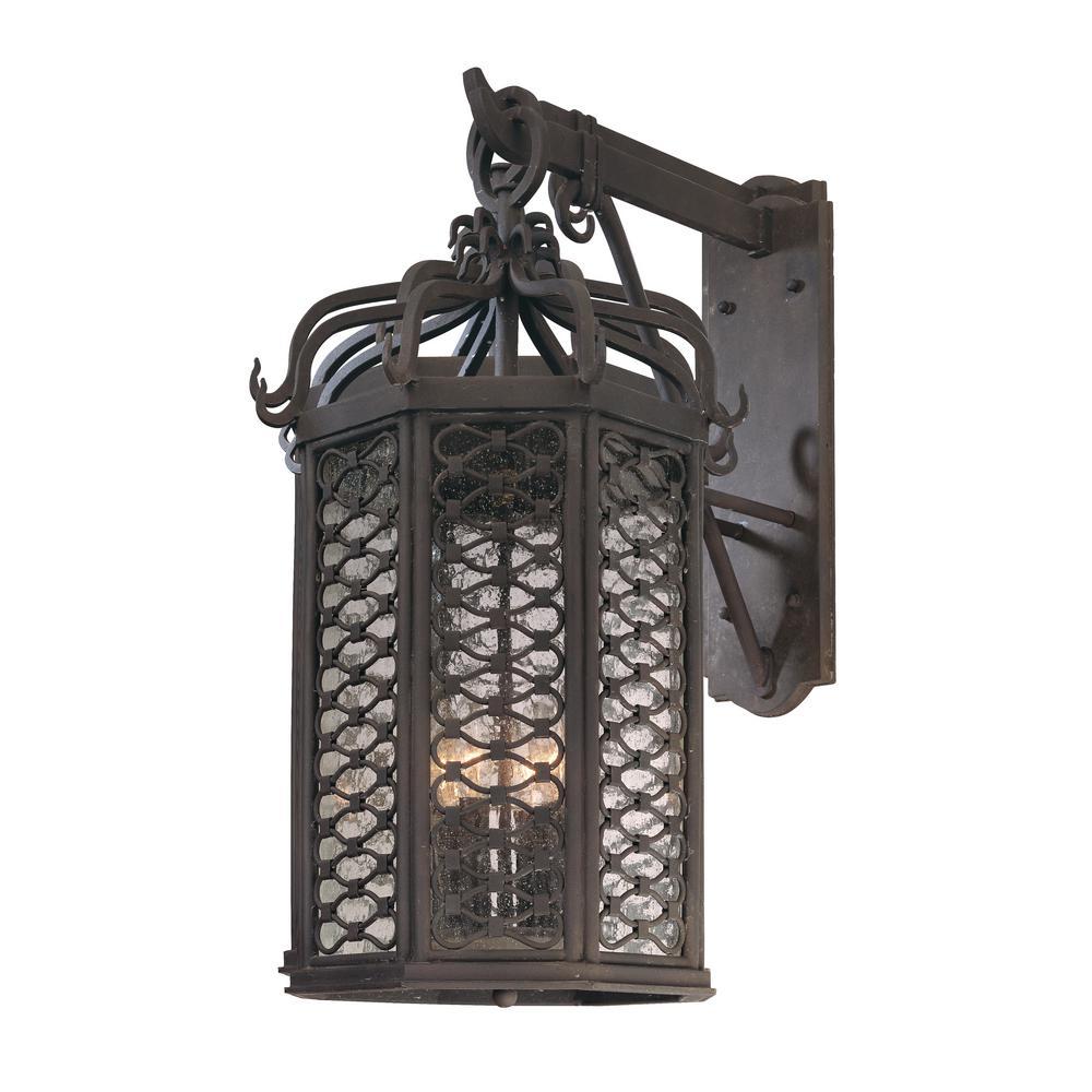 Los Olivos 4-Light Old Iron Outdoor Wall Mount Lantern
