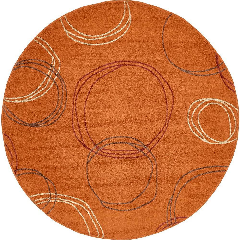 Autumn Cornucopia Terracotta 8' 0 x 8' 0 Round Rug