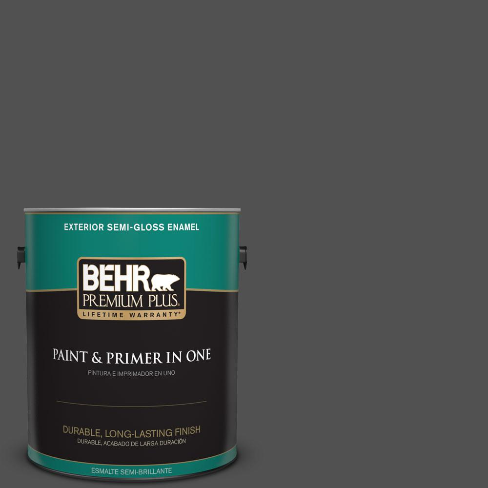BEHR Premium Plus 1-gal. #N460-7 Space Black Semi-Gloss Enamel Exterior Paint