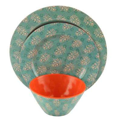 Solina 12-Piece Teal Melamine Dinnerware Set