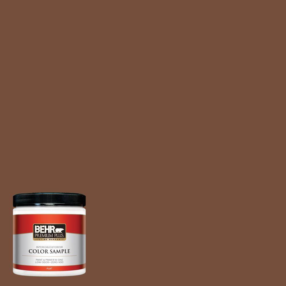 BEHR Premium Plus 8 oz. #240F-7 Root Beer Flat Zero VOC Interior/Exterior Paint and Primer in One Sample