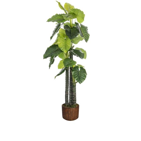 Vintage Home 76 8 In Tall Indoor Outdoor Elephant Ear Plant Artificial Decorative Faux 12 8 In Brown Wood Like Fiberstone Planter Vhx125202 The Home Depot