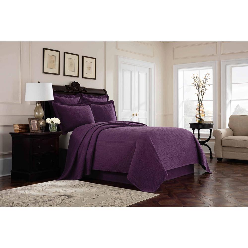 Royal Heritage Home Williamsburg Richmond Purple Twin Coverlet 048975018811