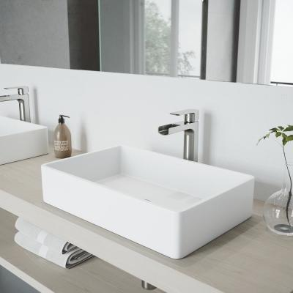 Amada Single Hole Single-Handle Vessel Bathroom Faucet in Brushed Nickel