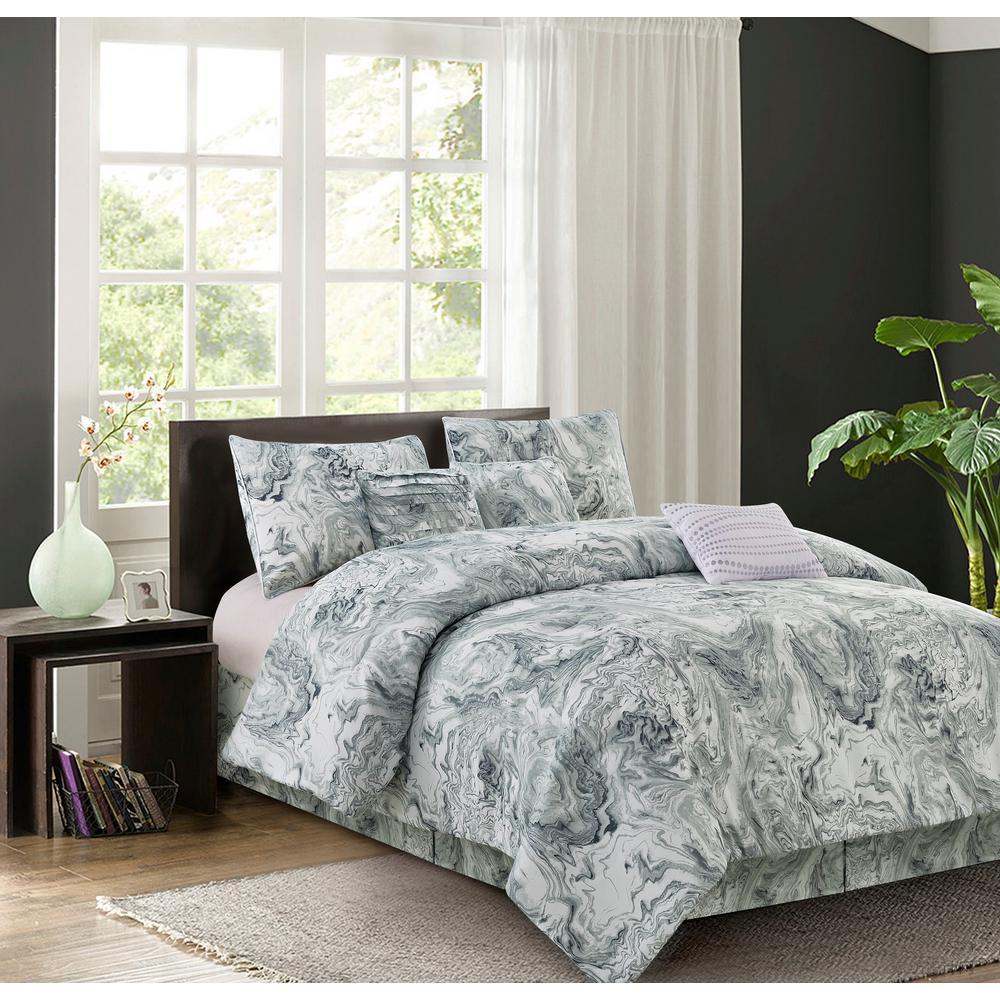 Carrera 7-Piece Grey Queen Comforter Set