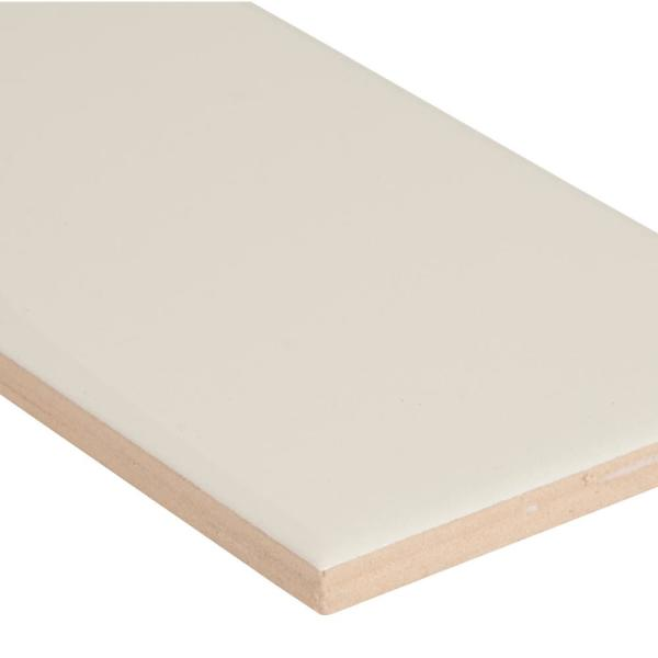 Almond Glossy Bullnose 3 in. x 6 in. Glossy Ceramic Wall Tile (5 lin. ft. / case)