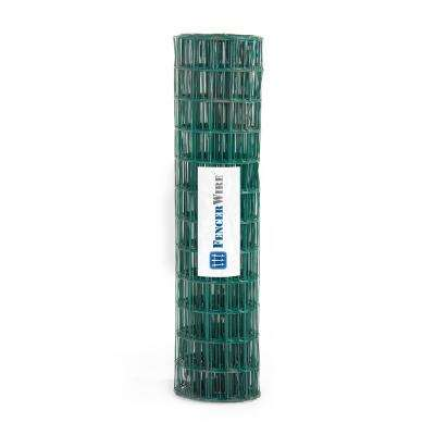 2 ft. x 25 ft. 16-Gauge Green PVC Coated Welded Wire Fence with Mesh Size 3 in. x 2 in.
