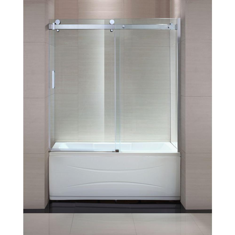 Schon Judy 60 In X 59 In Semi Framed Sliding Trackless Tub And Shower Door In Chrome With Clear Glass Sc70013 The Home Depot