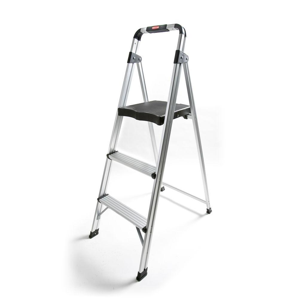 Rubbermaid 3-Step Aluminum Step Stool Ladder-RM-AUL3G
