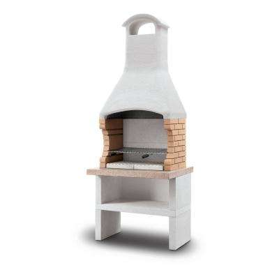 Palazzetti Ariel Charcoal or Wood Fire Outdoor Grill in White Marmotech