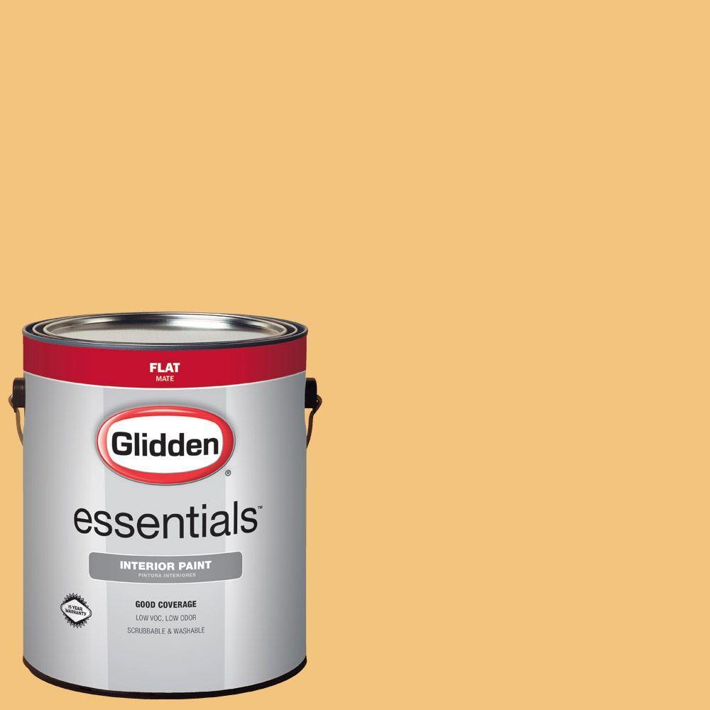 Glidden Essentials 1 Gal Hdgy07 Prairie Grass Gold Flat Interior Paint Hdgy07e 01fn The Home Depot
