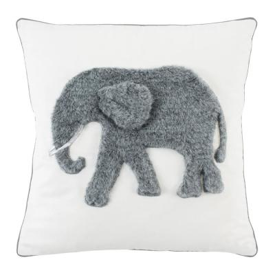 Snuffles White and Grey Animal Print Polyester 20 in. x 20 in. Throw Pillow