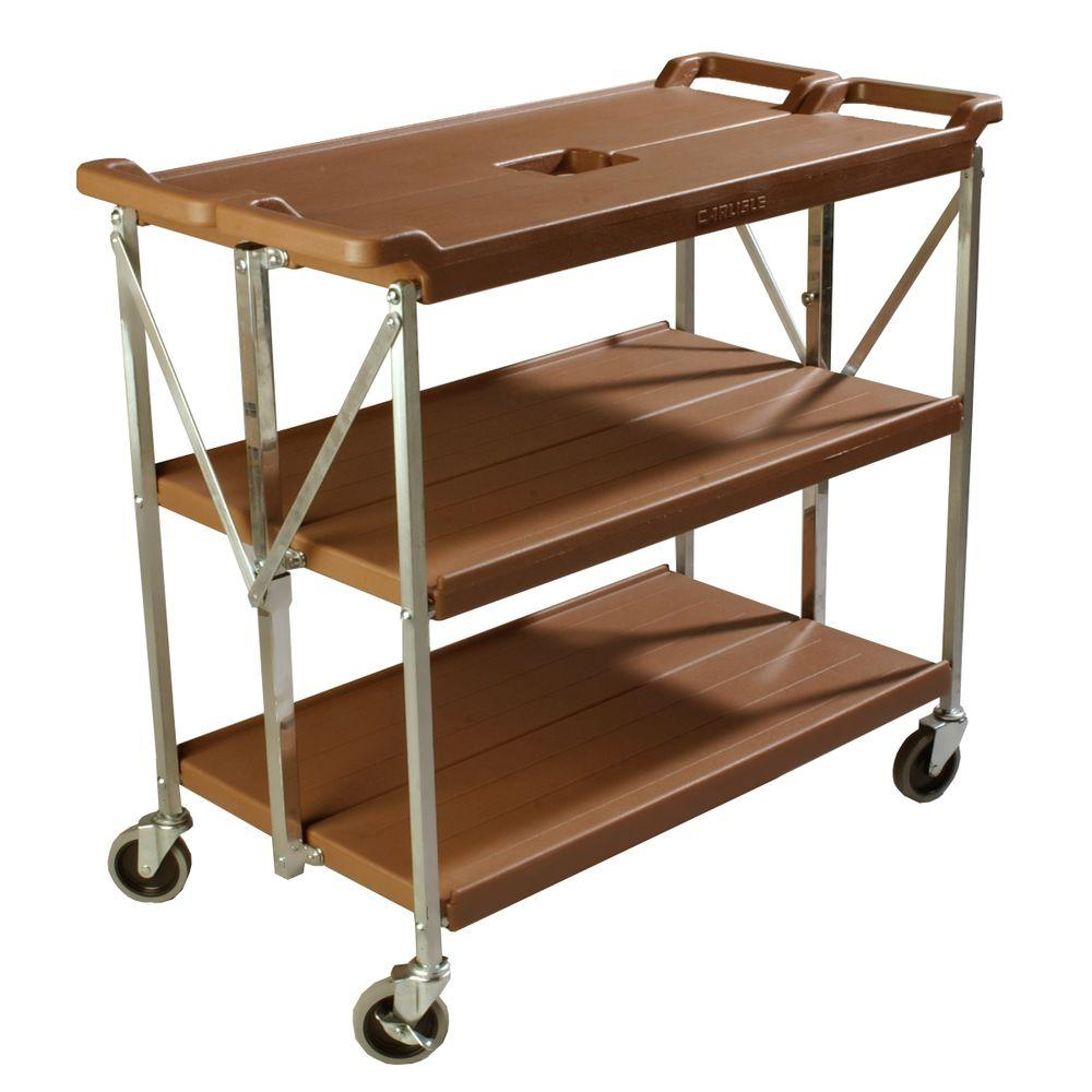 Carlisle 350 lb. Tan Large Fold 'N Go Heavy-Duty 3-Tier Collapsible Utility Cart and Portable Service Transport