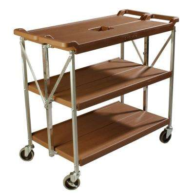 350 lb. Tan Large Fold 'N Go Heavy-Duty 3-Tier Collapsible Utility Cart and Portable Service Transport