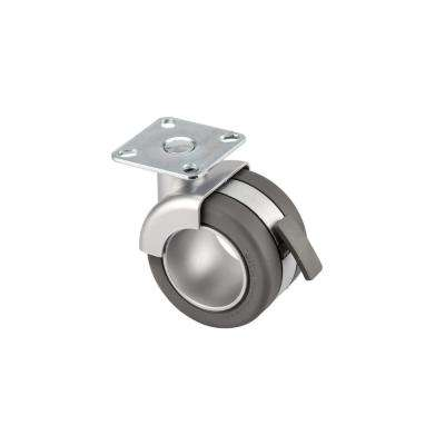 2-11/16 in. Metalic Grey and Matte Grey Swivel with Brake plate Caster, 110 lb. Load Rating