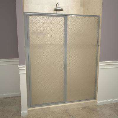 1100 Series 47 in. W x 72-1/8 in. H Framed Swing Shower Door in Brushed Nickel with Pull Handle and Obscure Glass