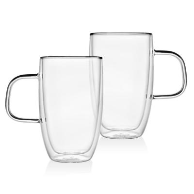 Double Wall 15 oz. Crystal Handled Mug (Set of 2)