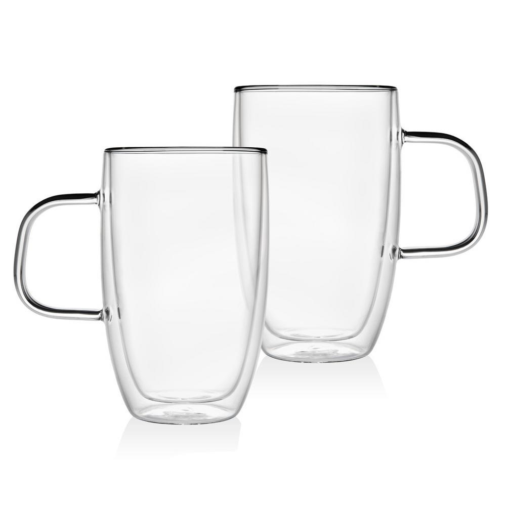 Double Wall 15 oz. Crystal Handled Mug (Set of 2)