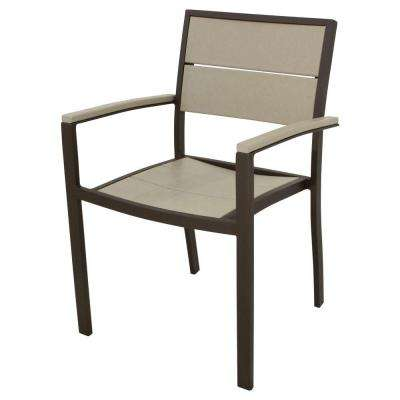 Surf City Textured Bronze Patio Dining Arm Chair with Sand Castle Slats