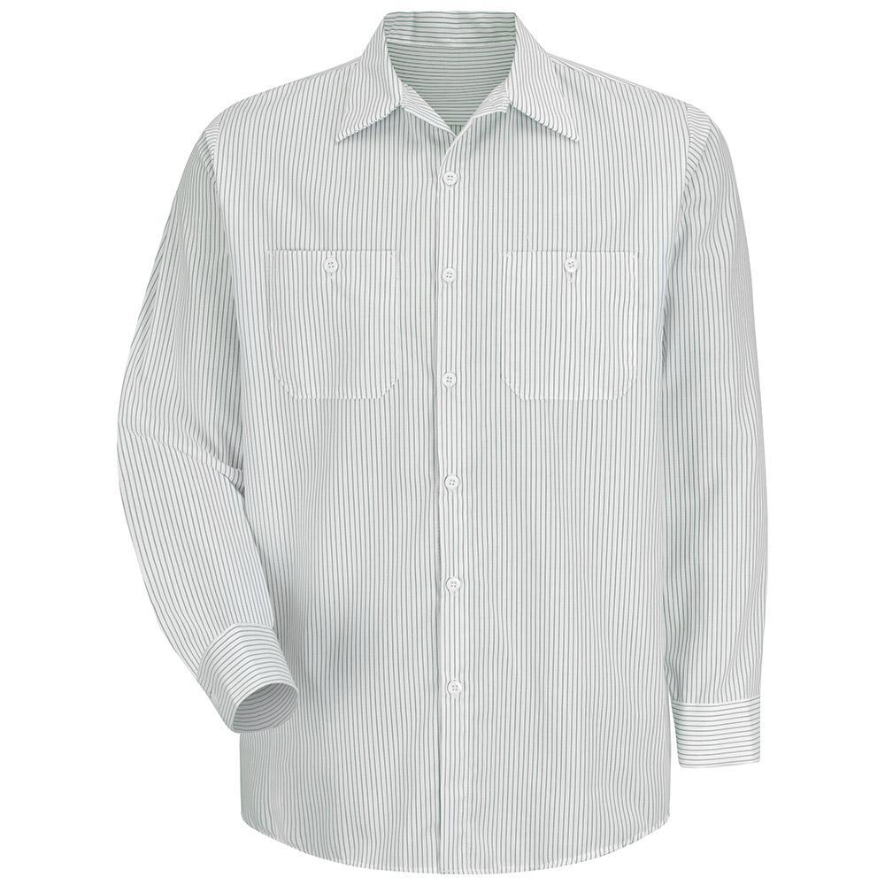 b4a276e76 Red Kap Men's Size 2XL White / Green Stripe Industrial Stripe Work Shirt-SP10GW  RG XXL - The Home Depot