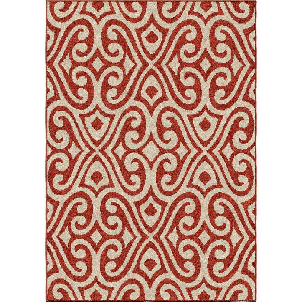 Eutaw Red Damask Scroll 7 Ft. 8 In. X 10 Ft.