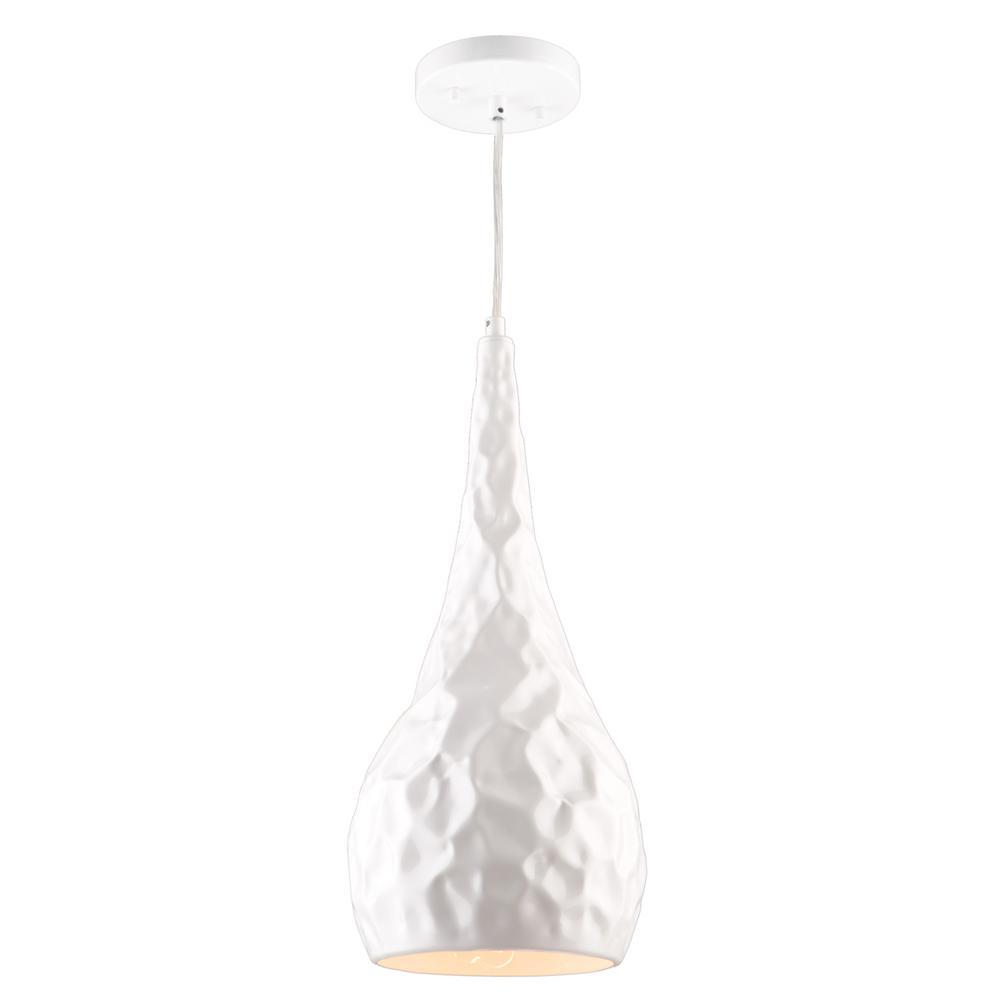 1-Light Glossy White Pendant