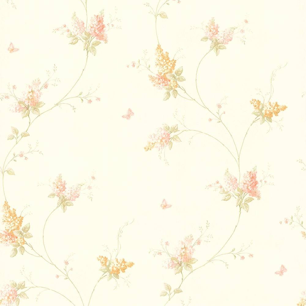 Brewster 56 4 Sq Ft Delilah Mauve Floral Stripe Wallpaper 436