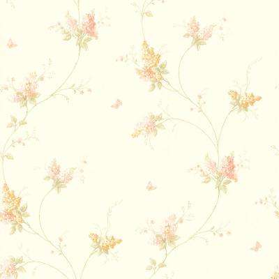 Delilah Mauve Floral Stripe Wallpaper Sample
