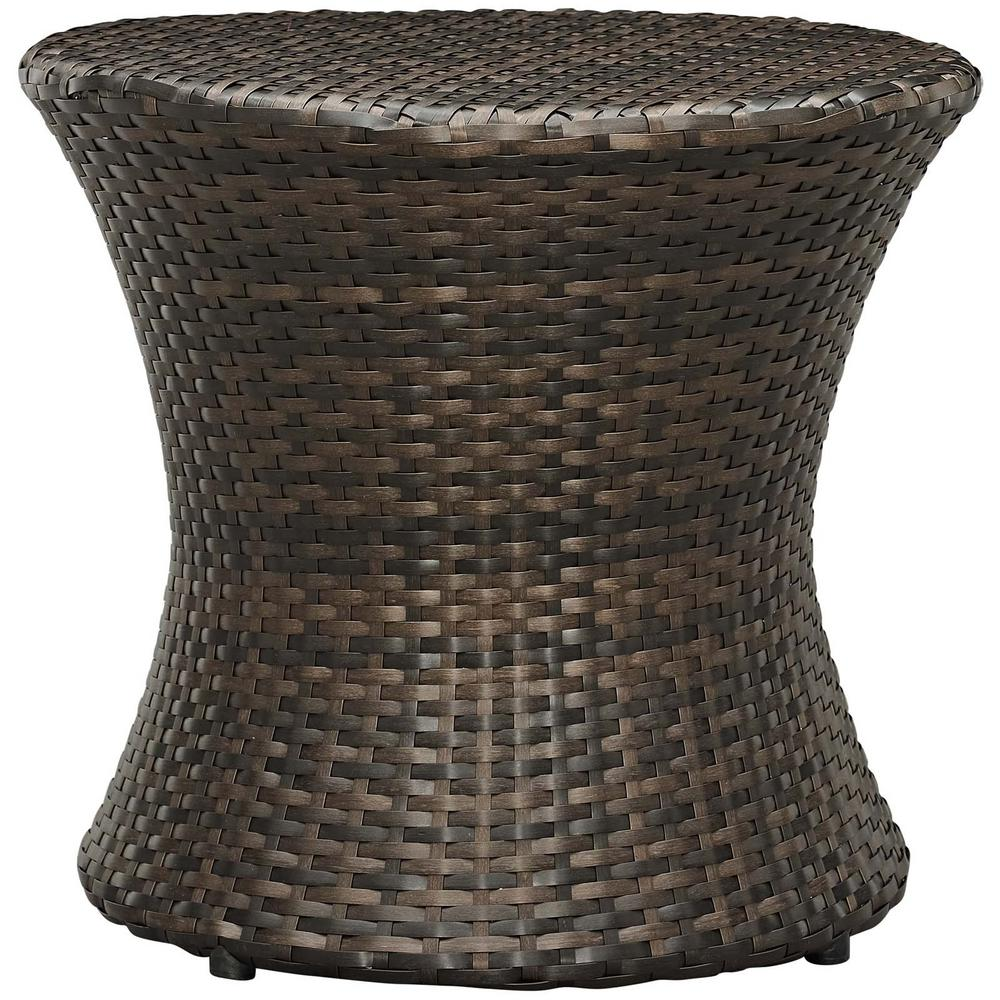 Stage Patio in Brown Wicker Outdoor Side Table