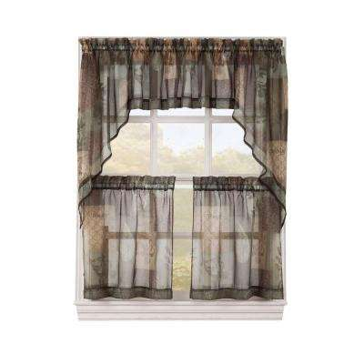 Sheer Sage Green Eden Printed Textured Sheer Kitchen Curtain Tiers, 56 in. W x 36 in. L