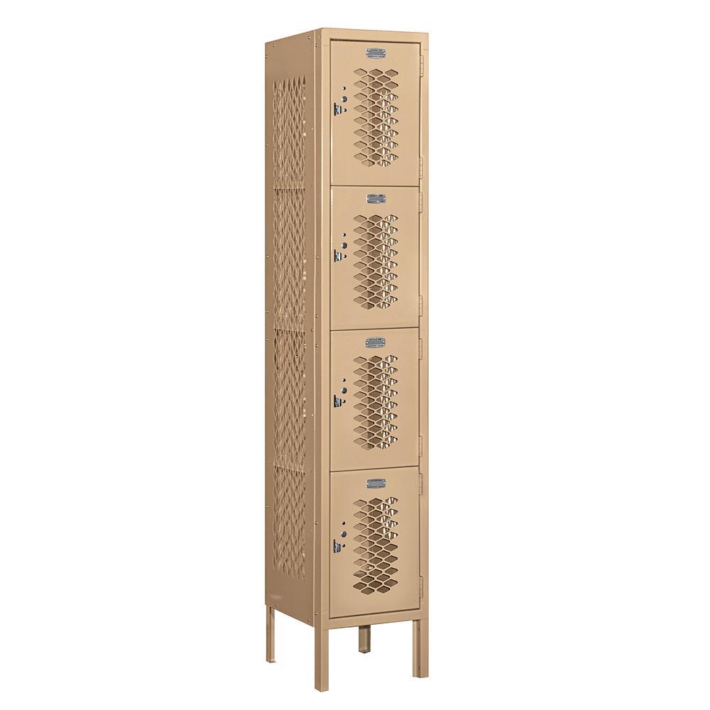 74000 Series 4-Tier 12 in. W x 66 in. H x 12 in. D Vented Metal Locker Assembled in Tan