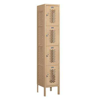 74000 Series 4-Tier 12 in. W x 66 in. H x 12 in. D Vented Metal Locker Ready to Assemble in Tan