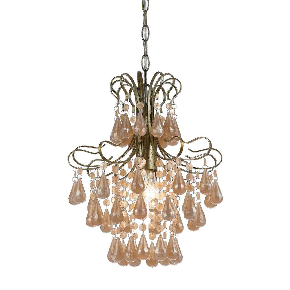 Pink mini chandelier chandelier designs af lighting 1 light soft gold mini chandelier with pink arubaitofo Gallery