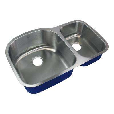 Meridian Undermount Stainless Steel 31.5 in. 75/25 Double Bowl Kitchen Sink in Brushed Stainless Steel