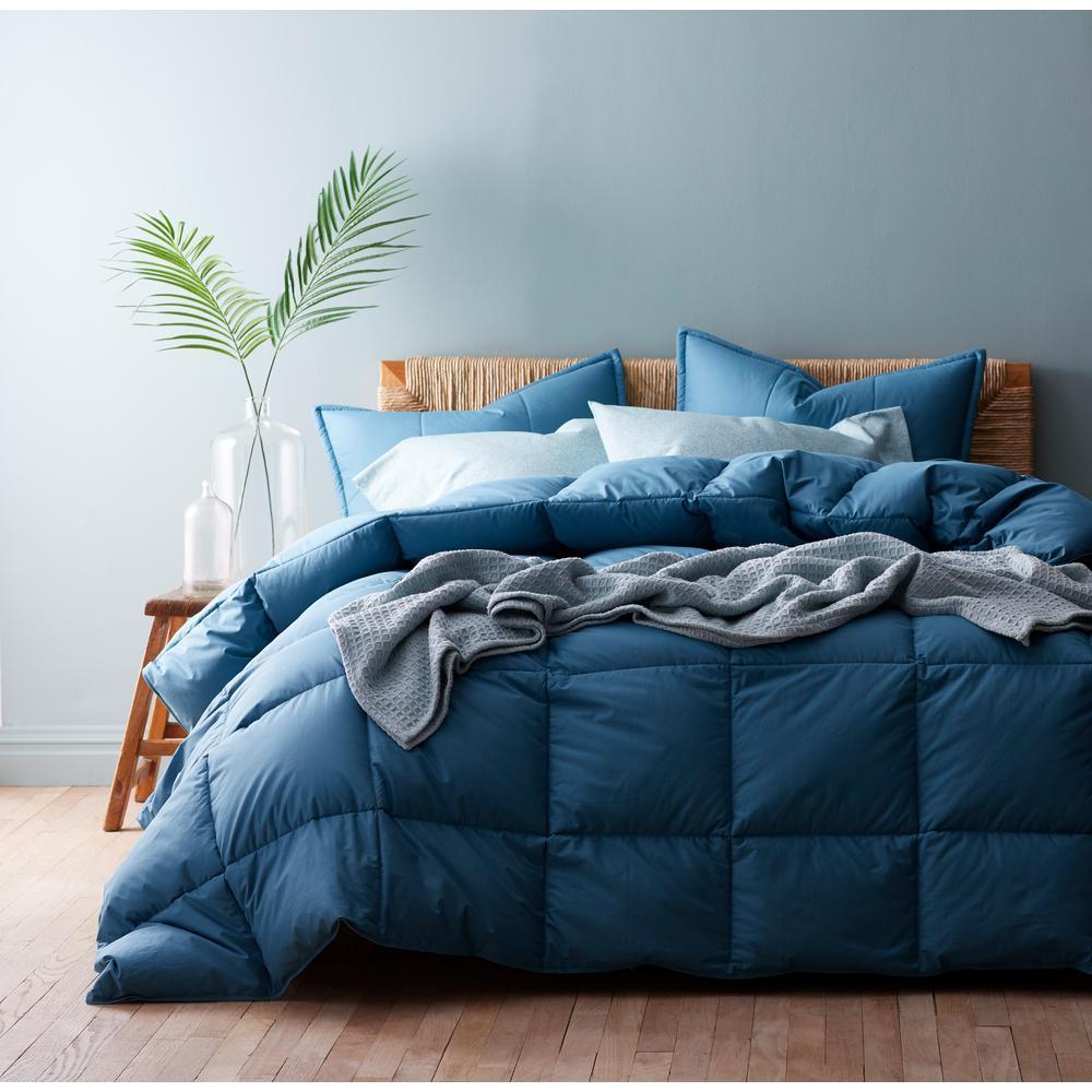 The Company Store LaCrosse LoftAIRE Light Warmth Smoke Blue Queen Comforter