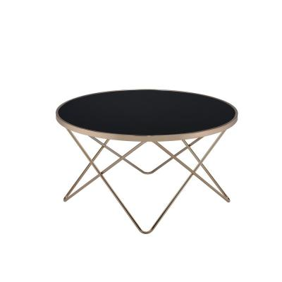 Valora 34 in. Black/Champagne Medium Round Glass Coffee Table with Storage