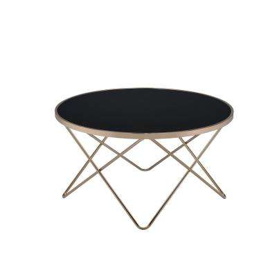Valora Black Glass and Champagne Coffee Table