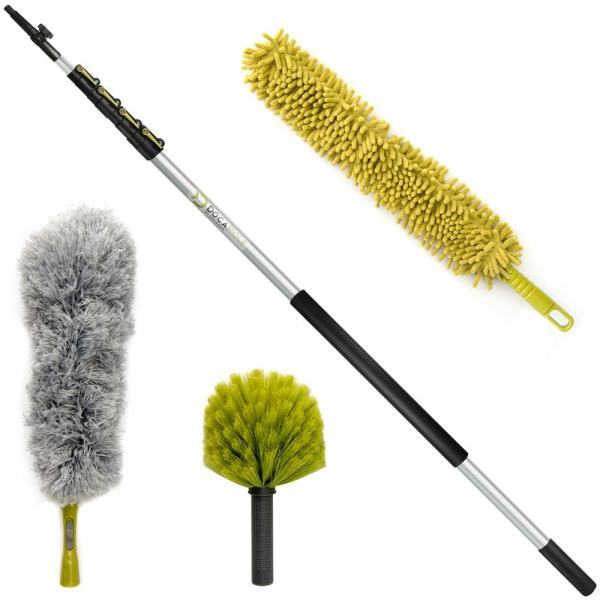 High Reach Dusting Kit - Includes 6 ft. - 24 ft Extension Pole, Cobweb Duster, Microfiber Feather and Ceiling Fan Duster