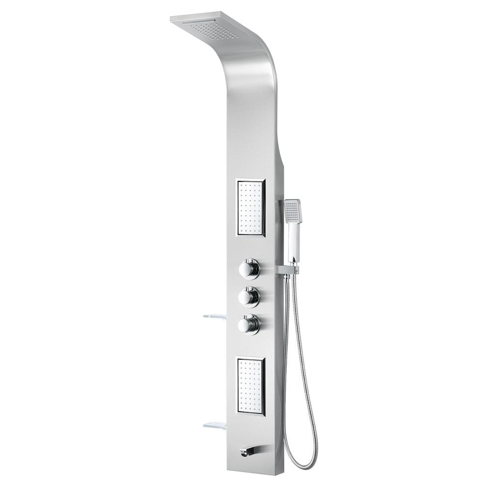 ANZZI FIELD Series 58 in. 2-Jetted Full Body Shower Panel System with Heavy Rain Shower and Spray Wand in Brushed Steel