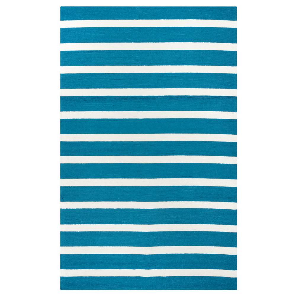 Rizzy Rugs Azzura Hill Dark Teal Striped 3 ft. 6 in. x 5 ...