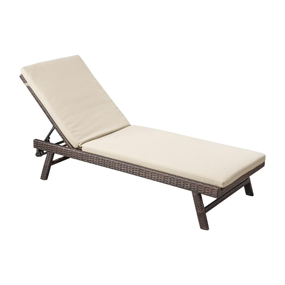 Delicieux Noble House Waveland Multi Brown Wicker Outdoor Chaise Lounge With Tan  Cushion