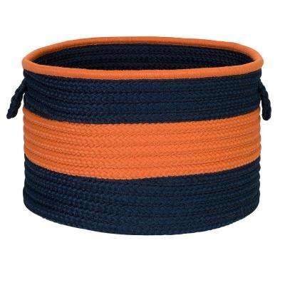Color Pop Round Polypropylene Basket Navy/Orange 18 in. x 18 in. x 12 in.