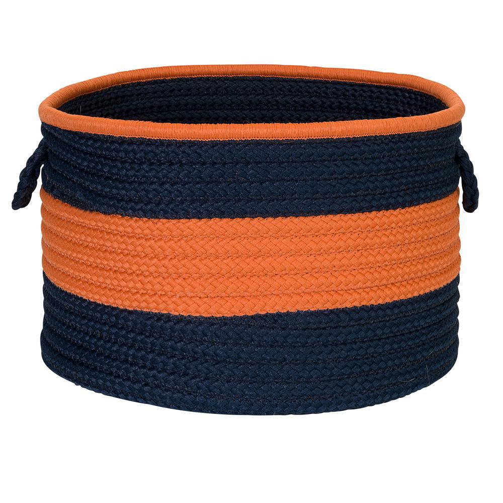 Color Pop Round Polypropylene Basket Navy/Orange 18 in. x 18 in. x 12 in.
