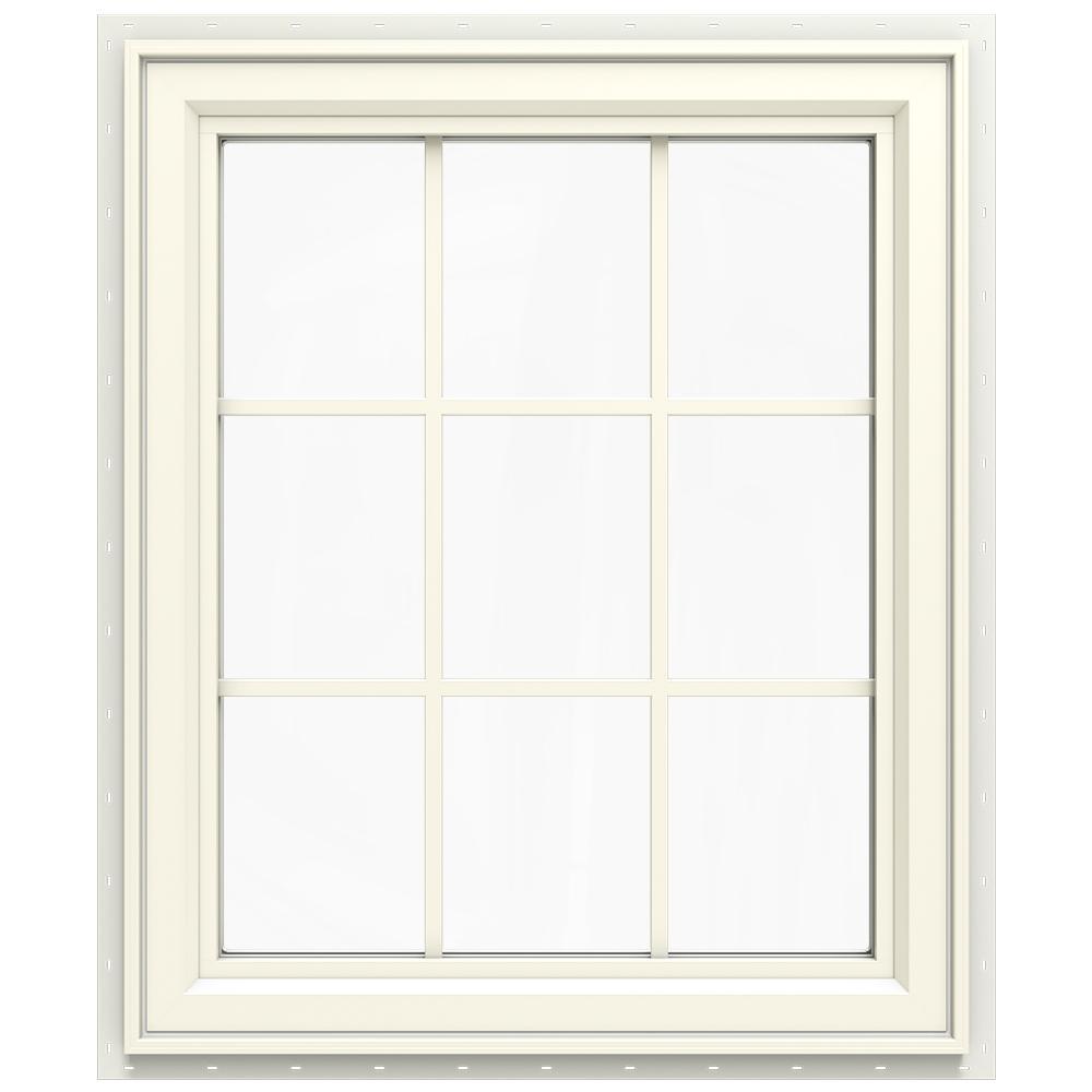 29.5 in. x 35.5 in. V-4500 Series Left-Hand Casement Vinyl Window with Grids - Yellow