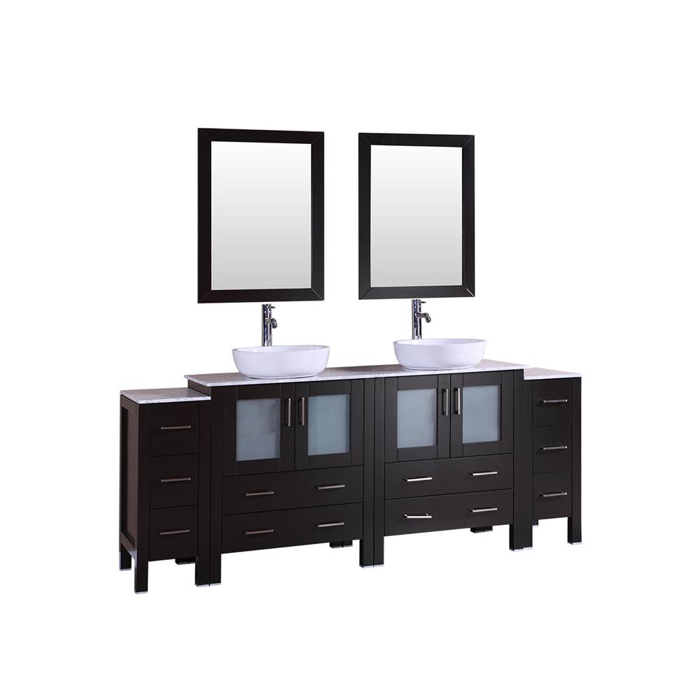 W Double Bath Vanity With Carrara Marble Top In Gray White