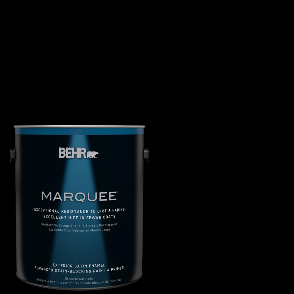 Behr marquee 1 gal black satin enamel exterior paint and primer in one 945301 the home depot for Behr exterior paint with primer reviews