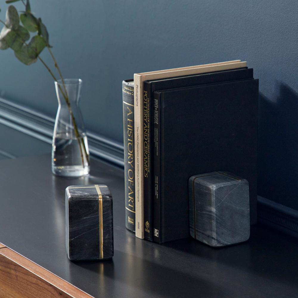 Cubed 5 in. x 7 in. Each Multi-Colored Marble Shapes Bookends with Gold Metal Accents