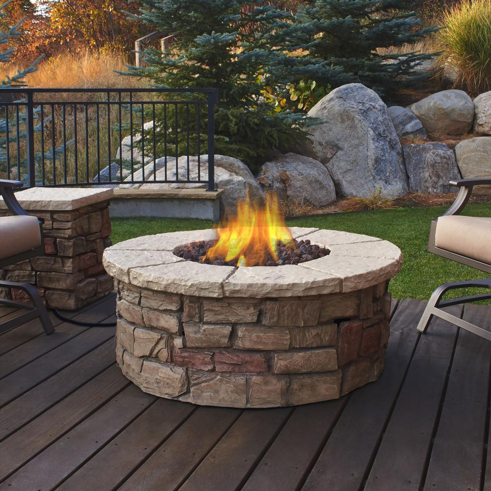 Real Flame Sedona 43 In X 17 In Round Fiber Concrete